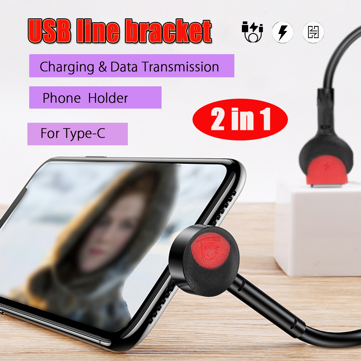 USB Type-C Cable 2 in 1 Charging Data Fast Charging