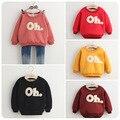 Осень зима девушки дети одежда повседневная детская o шеи буквы шаблон бархат сгустите свитера толстовки sweatershirts топы