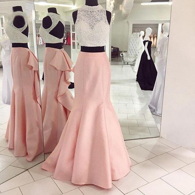 Hermosas perlas blusa de cuello alto sirena de pink prom dress para ...
