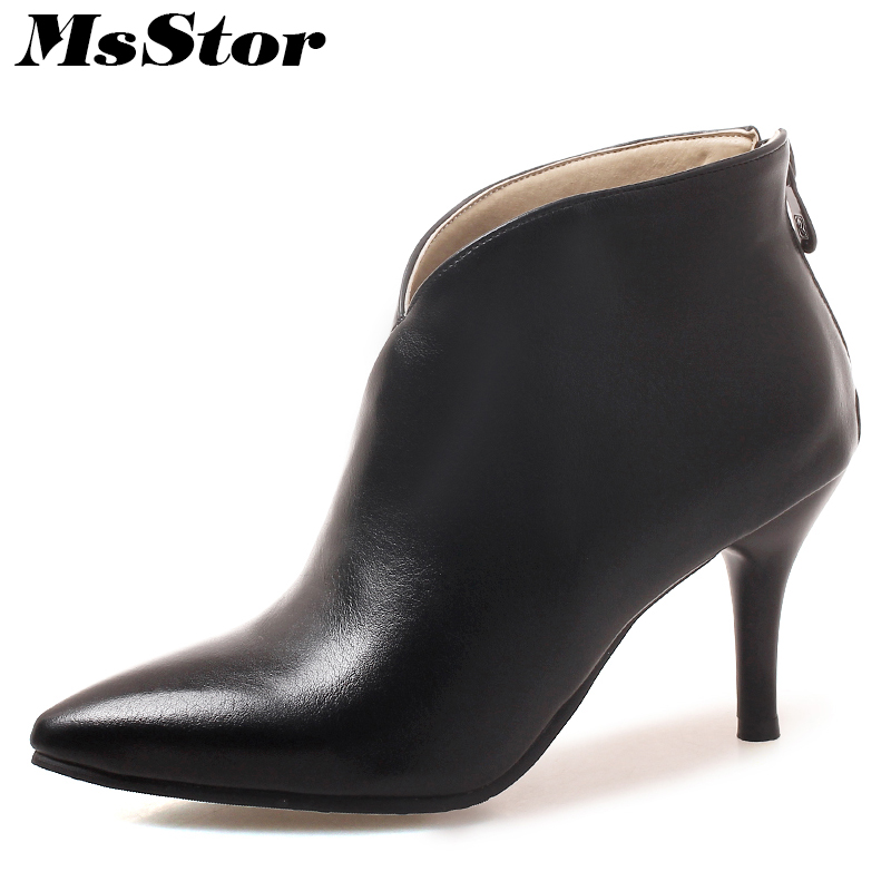 MsStor Pointed Toe High Heel Boots Shoes Woman Fashion Zipper Sexy Ankle Boots Women Shoes Thin Heel Plus Size Cheap Women Boots