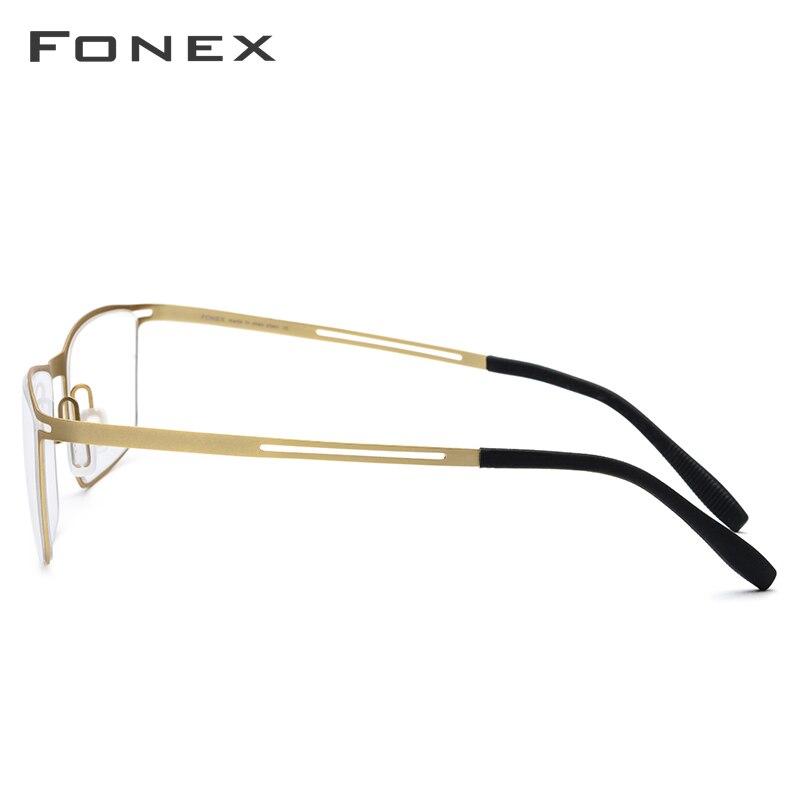 Image 3 - FONEX B Titanium Glasses Frame Men Semi Rimless Prescription Eyeglasses Ultralight Myopia Optical Frame Screwless Eyewear 874-in Men's Eyewear Frames from Apparel Accessories