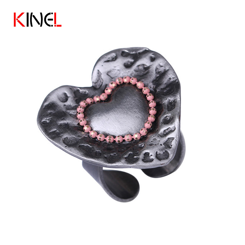 2017 New Vintage Love Heart Rings For Women Fashion Antique Tin Color Punk Jewelry Adjustable Engagement Party Ring Dropshipping