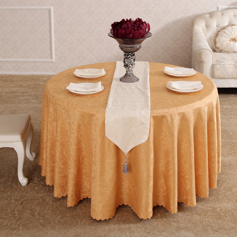 Heavy Yellow Rattan Flower Synthetic Hair Rectangle Square tablecloths Hotel All Sizes Table Cloth For Dining Table