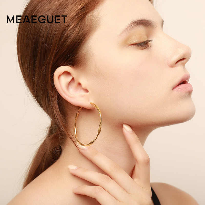 Meaeguet Wave Shape Hoop Earrings For Women Stainless Steel 3 Color Party Jewelry GirlFriend Gift