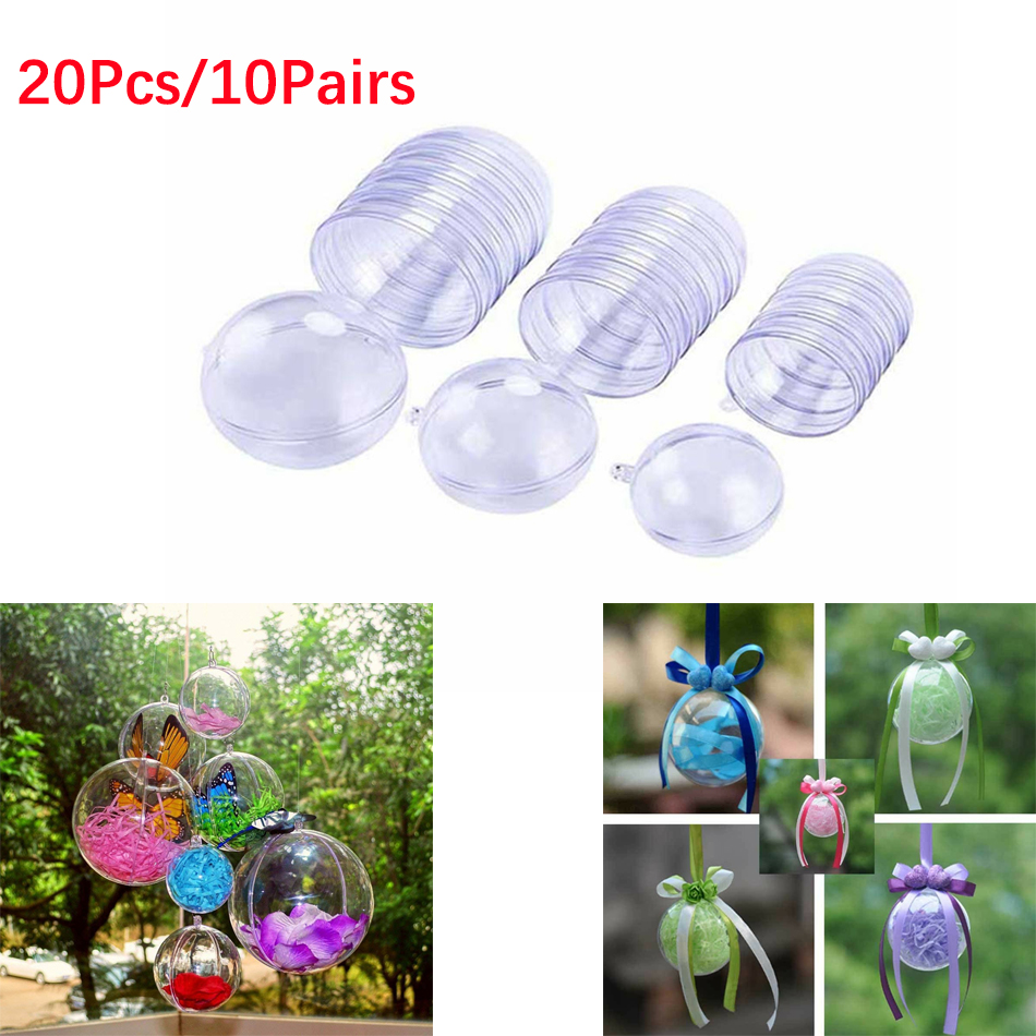 20Pcs/10 Pairs Christmas Tress Decorations Ball Transparent Open Plastic Clear Bauble Ornament Gift Present Box Decoration
