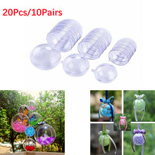 20Pcs/10 Pairs Christmas Tress Decorations Ball Transparent Open Plastic Clear Bauble Ornament Gift Present Box Decoration(China)