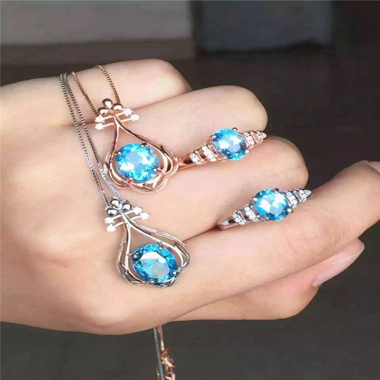 925 Silver Blue Topaz Ring Pendant Necklace Set S925 Sterling Silver female free shipping