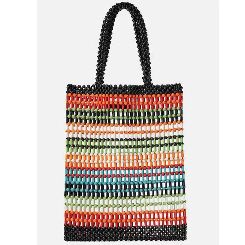 2019 Fashion Any Color Can Be Customzied Multi-color Stripes Large Acrylic Beaded Tote Bag2019 Fashion Any Color Can Be Customzied Multi-color Stripes Large Acrylic Beaded Tote Bag