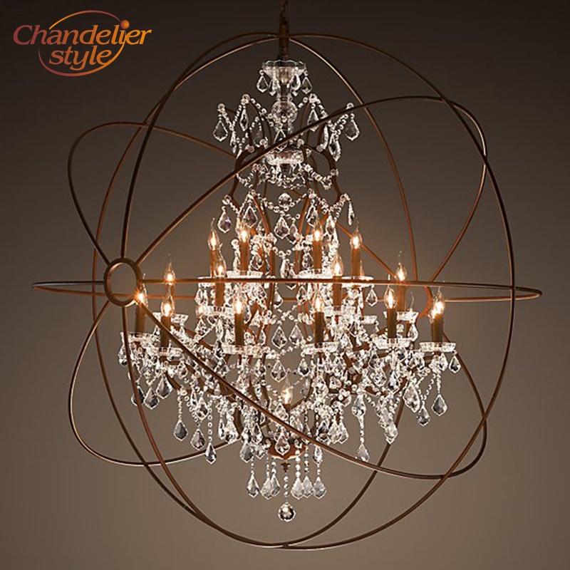 Orb Crystal Chandelier Lighting Retro Rustic Cristal Chandeliers Hanging Light Fixture for Living and Dining Room