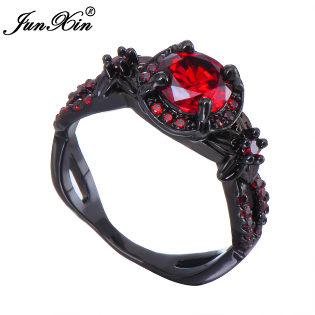 Junxin Charming Fashion Round Design Men Women Red Ring Black Gold Filled Jewelry Wedding Party