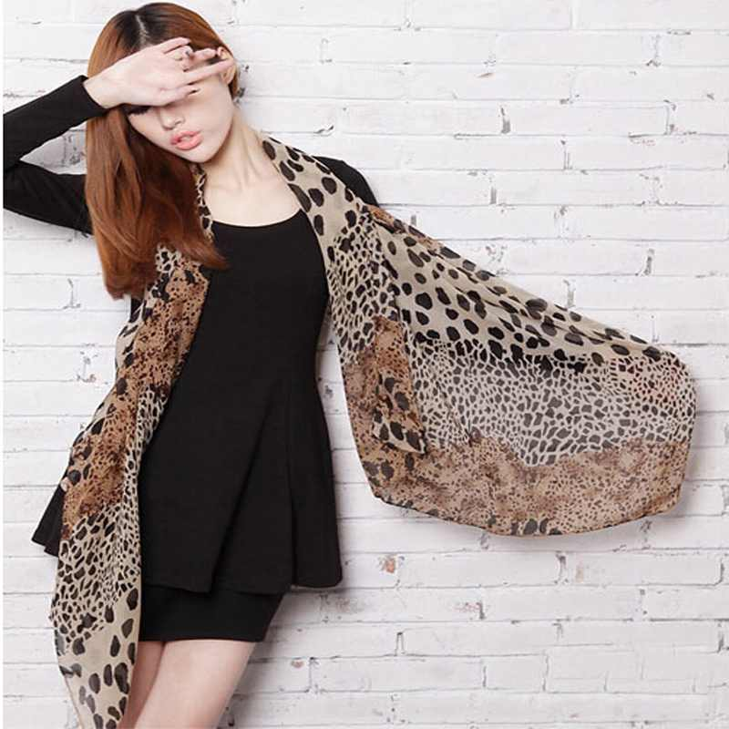 <font><b>2014</b></font> Hot Sell <font><b>Sexy</b></font> Fashion Shinning Leopard Print Chiffon Shawl Scarf for Women and Girls High Quality image