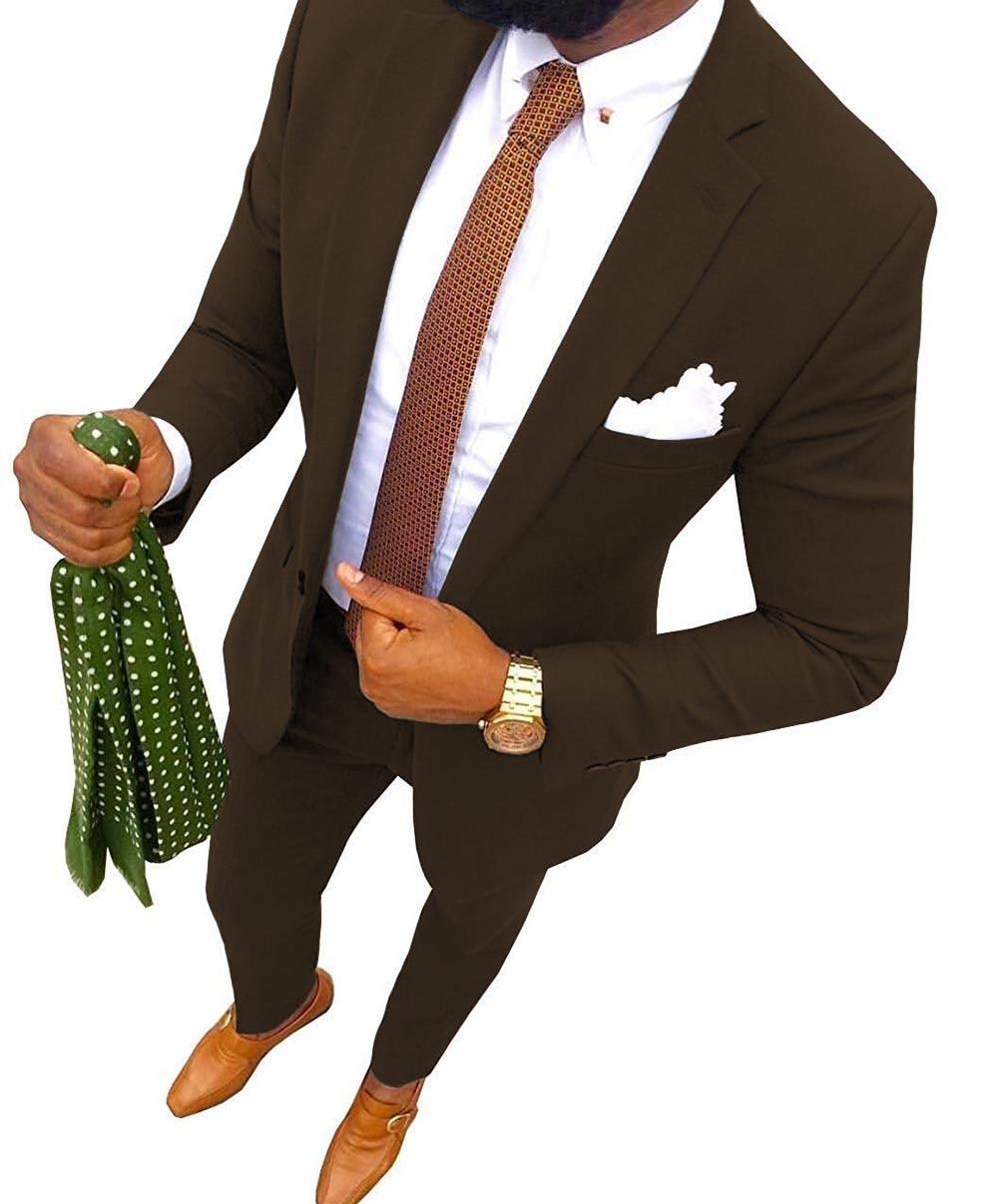 New Coffee Men's Suit Fashion 2-Piece Notch Lapel Flat Slim Fit Tuxedos Groomsmen Blazer For Wedding Graduation Party