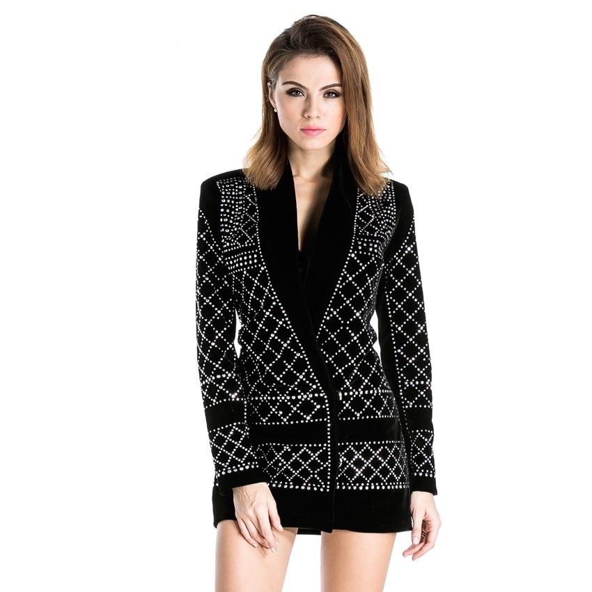Trendy V Neck Studded Geometric Blazer Dress Cocktail Semi Formal Black Embellished Bling Club ...
