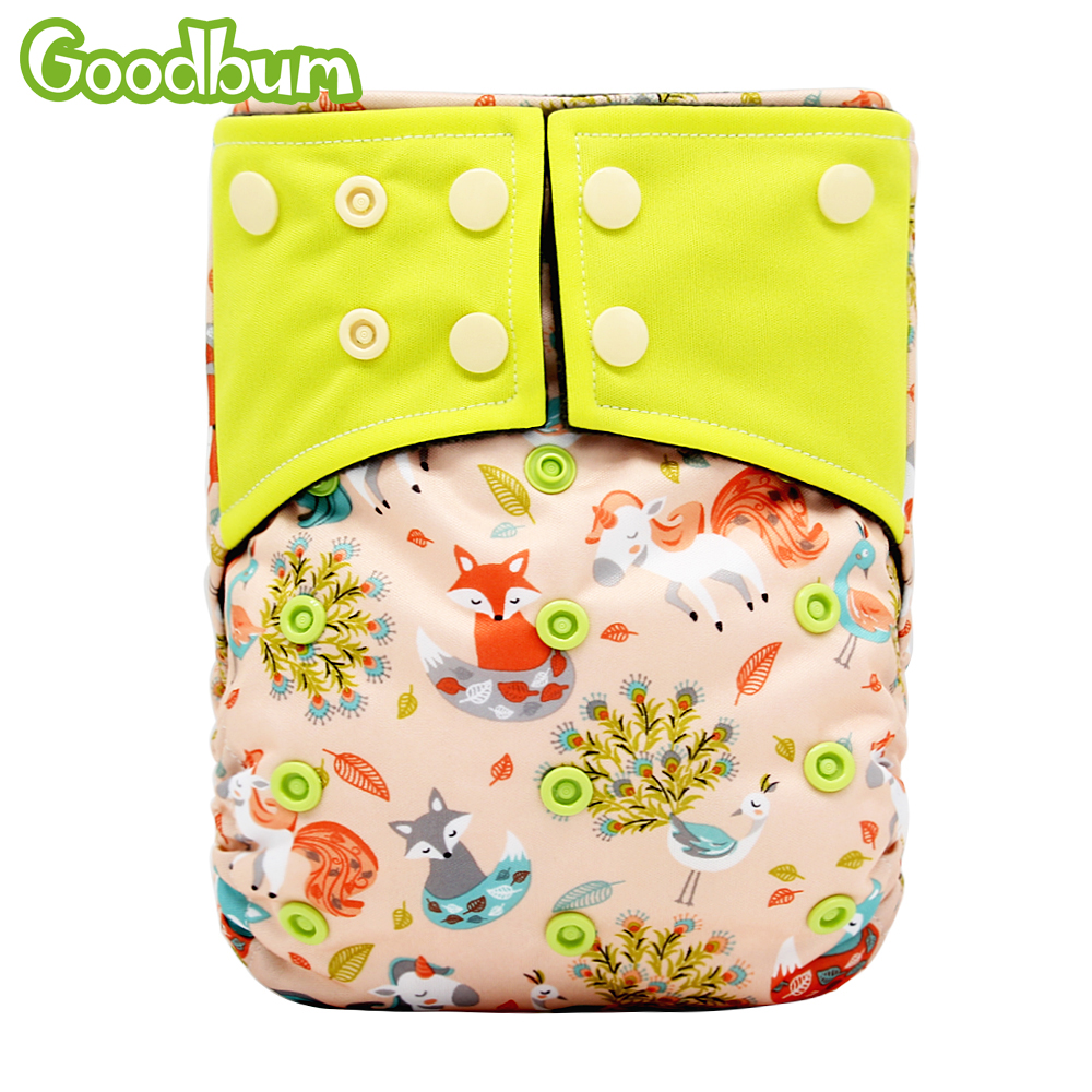 Goodbum 2018 New Baby Cloth Diapers Adjustable Cartoon Foxes Cloth Nappy Washable Waterproof Reusable Babies Pocket Nappies