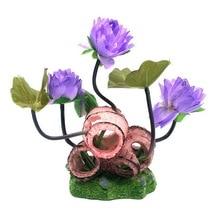 Artificial Plants Flower Double Barrels Lotus Leaf Simulation Rockery Ornament Fish Tank Aquarium Decoration Free Shipping