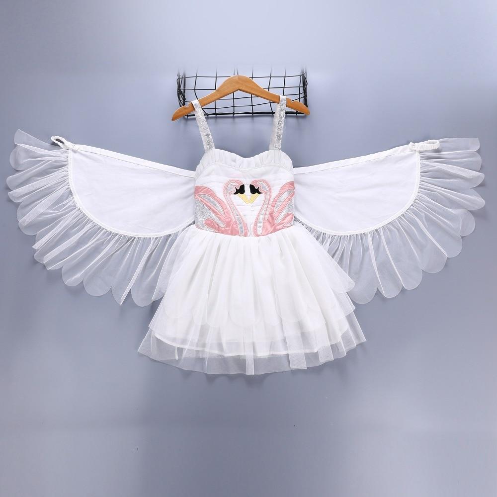 Children swan wings Dress Girl show dresses angel flamingo princess skirt