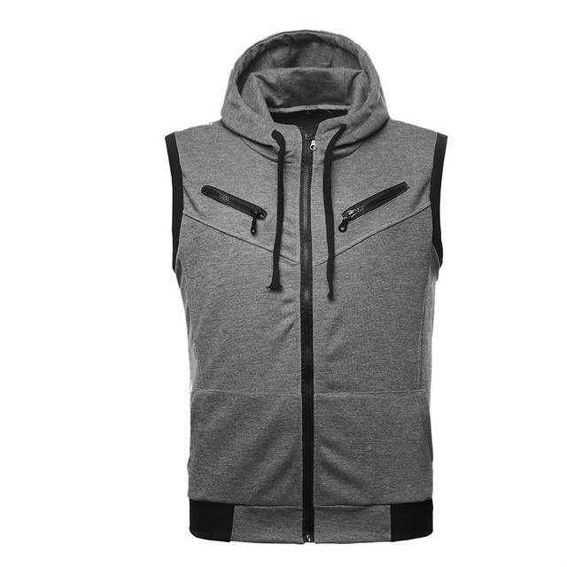 TFGS Spring Autumn UK style Zipper design hooded Vest men wine casual slim fit hooded Waistcoat for men M-XXL 3 Colors