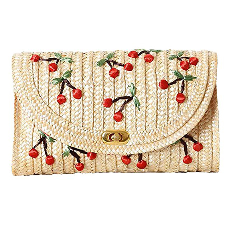 Chain Cherry Messenger-Bags Embroidery Bohemian-Style Bags-Mini Women Weave LJL