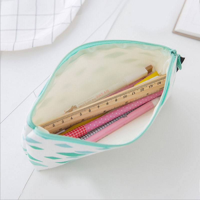 1x korean Geometric pen bag kawaii pencil bag big capacity PU stationery cute pencil box Pencil case School office Supplies in Pencil Bags from Office School Supplies