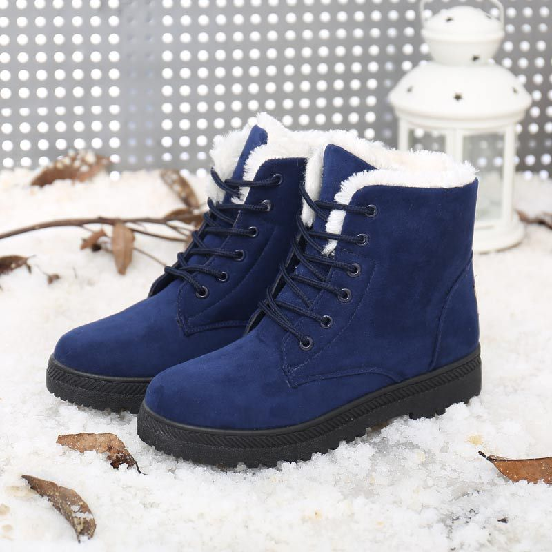 35-44 Plus size Women Winter Boots with Fur Lace Up Ladies Footwear Snow Ankle Boots Female Cotton Winter Women Shoes JC200 shoes women flat winter ankle autumn snow boots 2017 female lace up fur boots brand outdoor sport girl shoe size 35 41 page 6