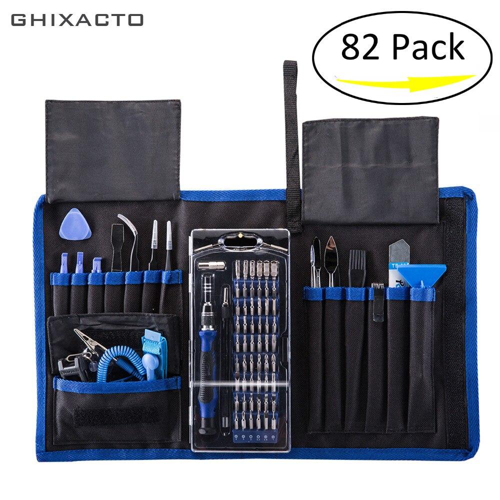 GHIXACTO 82 en 1 jeu de tournevis de précision avec Kit de pilote magnétique 57 bits outils à main pour Kit d'outils de réparation de tampon électronique de téléphone