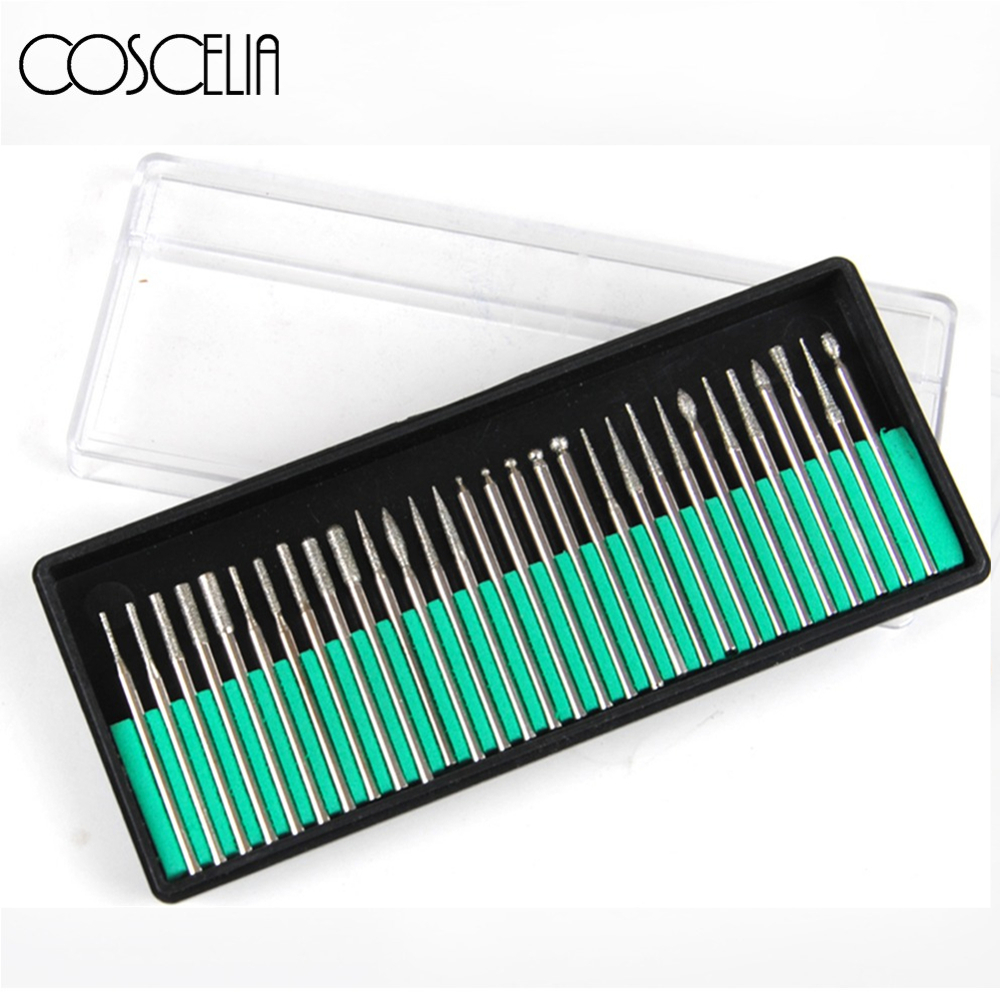 30pcs Nail Drill Bits Milling Cutter Set For Manicure Pedicure Electric Drill Machine Filing Manicure Tool For Nail Art Files
