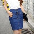 La nueva primavera y el verano 2017 de Europa de Talle Alto falda vaquera falda femenina del busto cintura delgada del paquete hip falda BTL040
