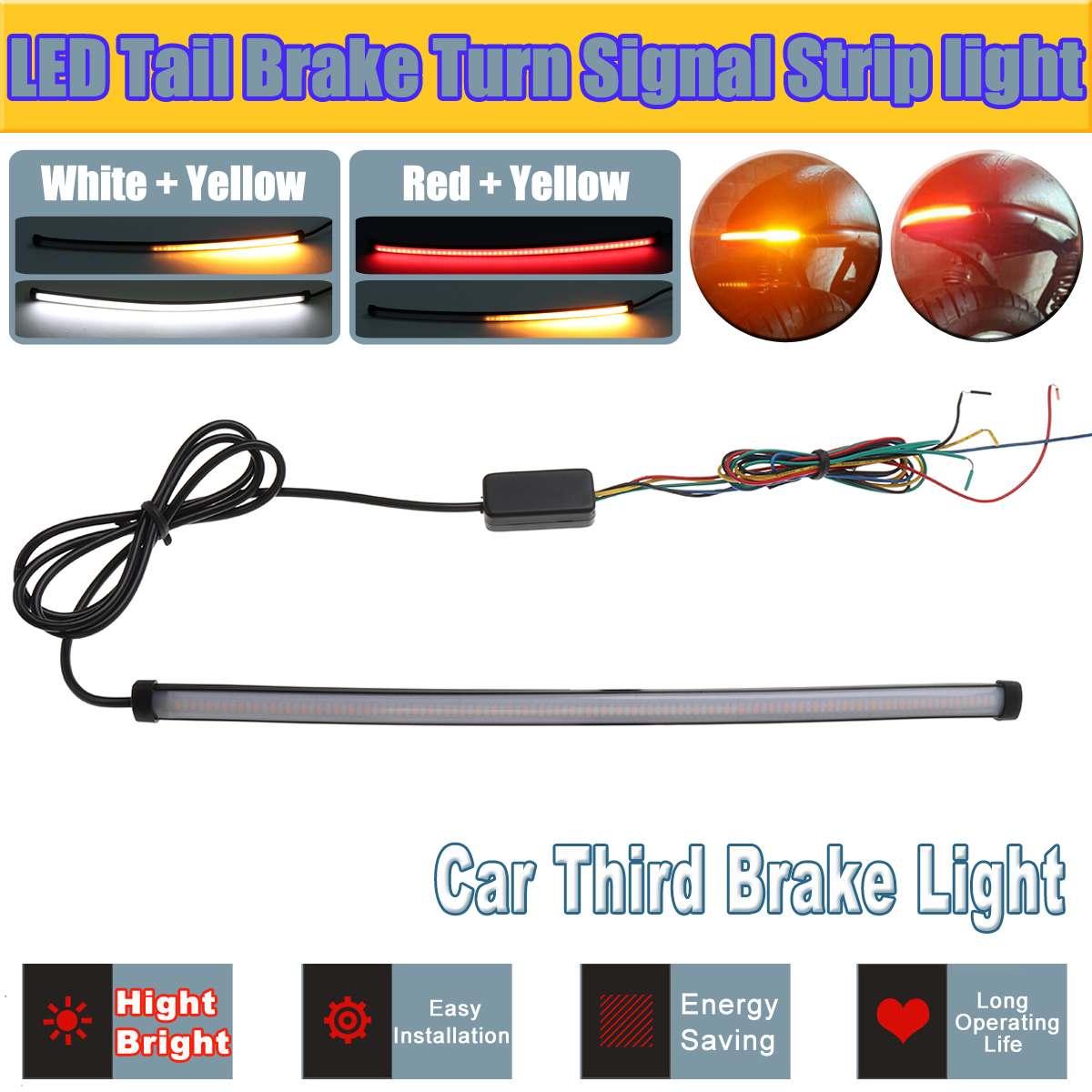 Motorcycle Switchback LED Tail Brake Flowing Turn Signal Light Strip Red /& Amber