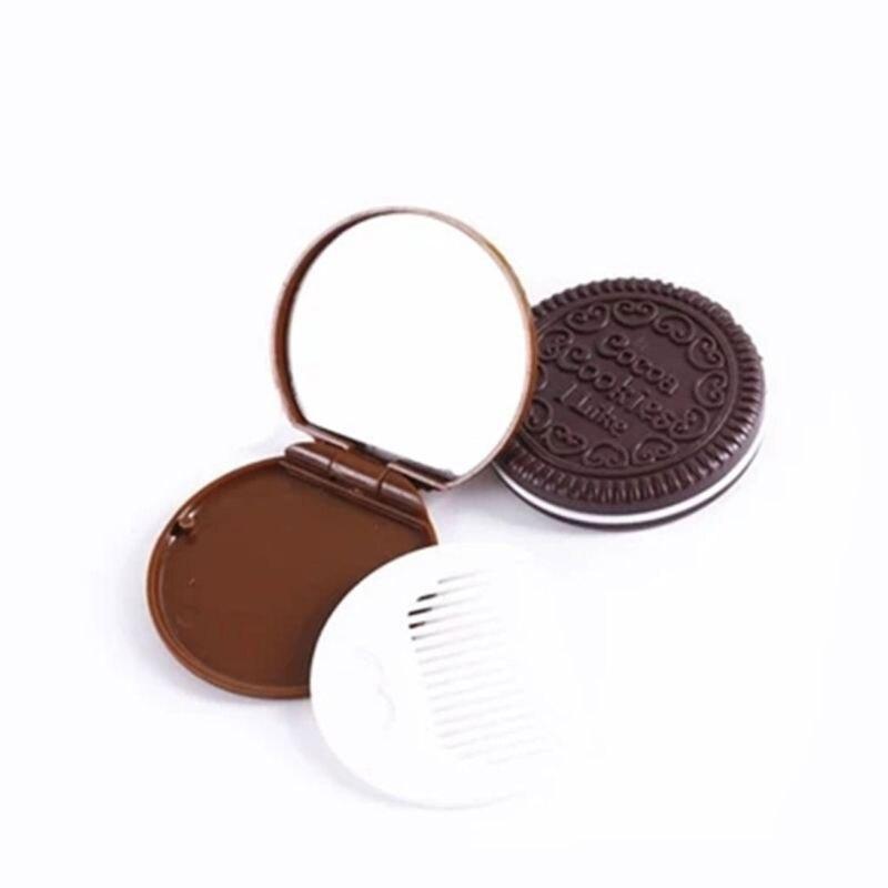 Haut Pflege Werkzeuge Energisch Frauen Mädchen Schokolade Cookie Mini Tasche Spiegel Mit Kamm Prinzessin Tragbare Sandwich Keks Form Make-up Kosmetische Klapp Mirro QualitäT Zuerst Schönheit & Gesundheit