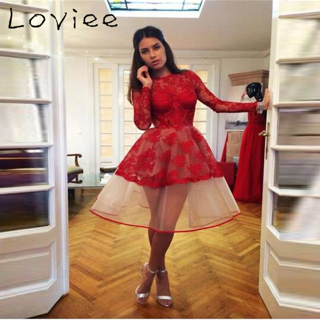 Hot Red Organza Knee Length Cocktail Dresses 2017 Long Sleeves Lace See  Through Formal Gowns robe