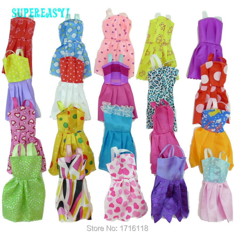 Random 12 Pcs Mix Sorts Beautiful Handmade Party Dress Fashion Clothes For Barbie Doll Kids Toys Gift Play House Dressing Up 26 item pcs 10 pcs beautiful party barbie clothes fashion dress 6 plastic necklace 10 pair shoes for barbie doll accessories