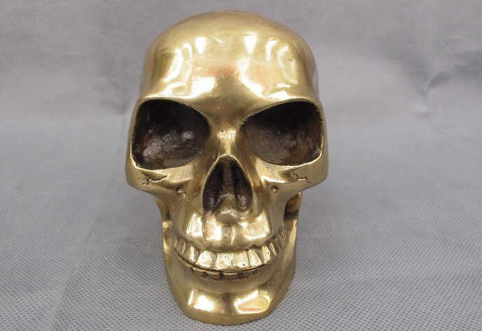 150624 S1778 Chinese Folk Koperen Bronzen Skelet Duivel Schedel doodshoofd hoofd Standbeeld