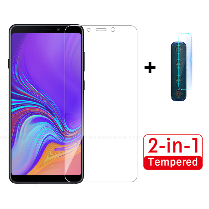 2-in-1 Protective Glass For Samsung Galaxy A9 A7 A750 2018 A9 Star Lite A9S Front Tempered Glass + Rear Camera Lens Protector
