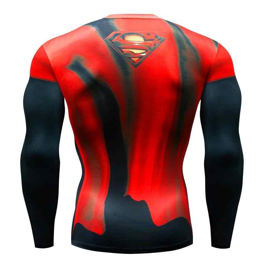 Yeni sıcak satış Superman Punisher döküntü bekçi koşu gömlek erkek T-shirt uzun kollu sıkıştırma gömlek spor T Shirt spor spor gömlek
