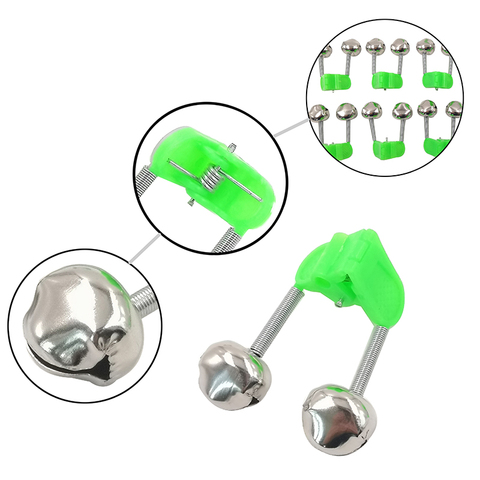OUTKIT 5pcs/lot Fishing Bite Alarms Fishing Rod Bell Rod Clamp Tip Clip Bells Ring Green ABS Fishing Accessory Outdoor Metal Karachi