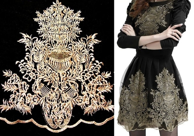 3pc 43x32cm gold applique baroque mesh embroidery patch patches for clothing stickers for. Black Bedroom Furniture Sets. Home Design Ideas