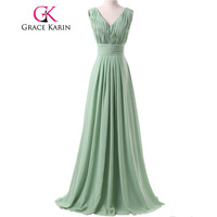 Free Shipping New Arrival Charming Long Dark Sea Green Ruched Backless Bridesmaid Dress Floor Length Birthday