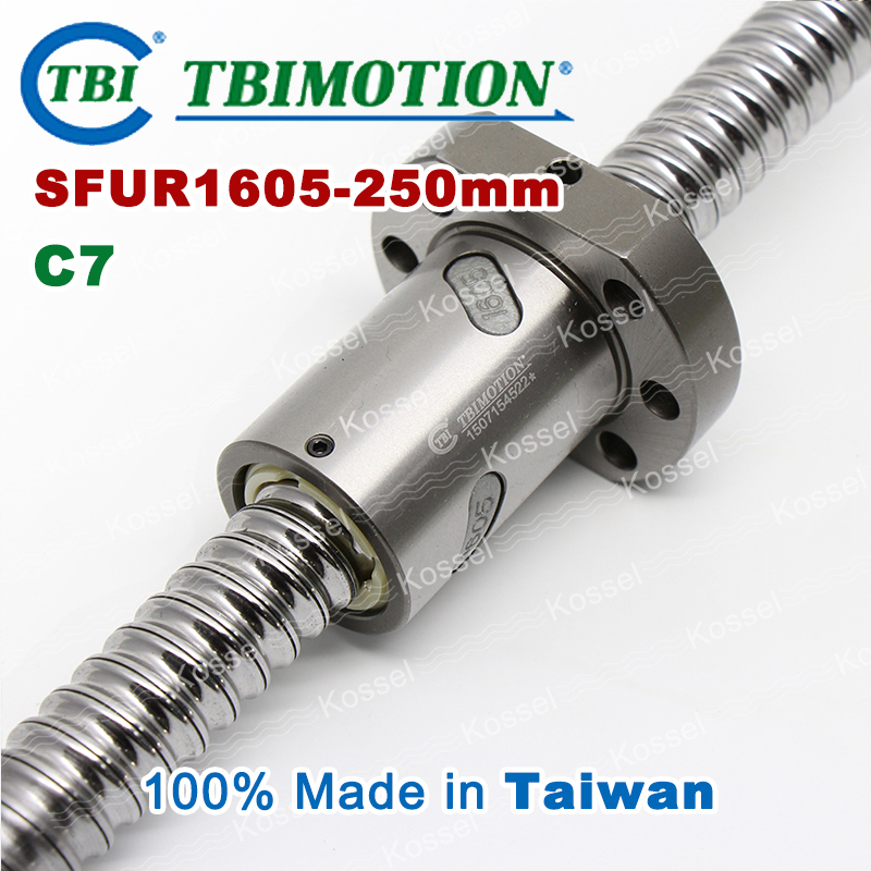 TBI 1605 C7 250mm ballscrew with SFU1605 ball nut of SFU rolled set end machined for high stability CNC diy kit tbi left helix c3 ballscrew 1605 300mm sfu1605 nut end machined high precision for cnc diy parts