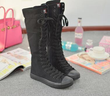 2016  Boots black white color Knee High Casual shoes Ladies Tall Punk Womens Lace Up leisure shoes high women lovers boots