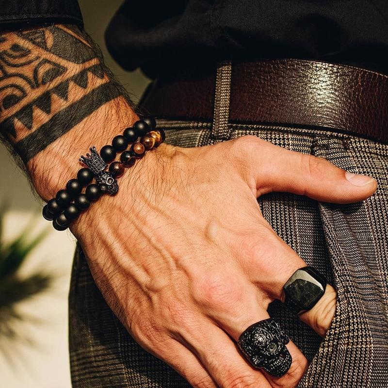 Pulsera con cuentas de piedra, accesorios para hombre, pulseras de corona, Juego de 2 piezas hechas a mano, joyería de calavera Erkek Bileklik para hombre, pulseras para mujer