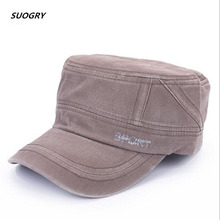Brand SUOGRY 2018 Classic Unisex Flat Top Cap Military Hats For Men Women 100% Cotton Stitching Spring Summer Visor Hat