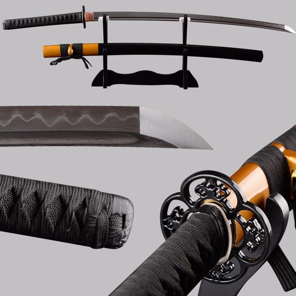 Espadas completa tang japonês katana afiada aço dobrado argila temperado lâmina espada cuttig prática metal decoração para casa