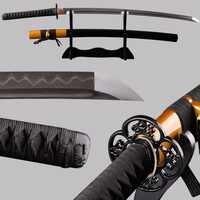 Swords Full Tang Japanese Katana Sharp Folded Steel Clay Tempered Blade Espada Cuttig Practice Sword Metal Home Decoration