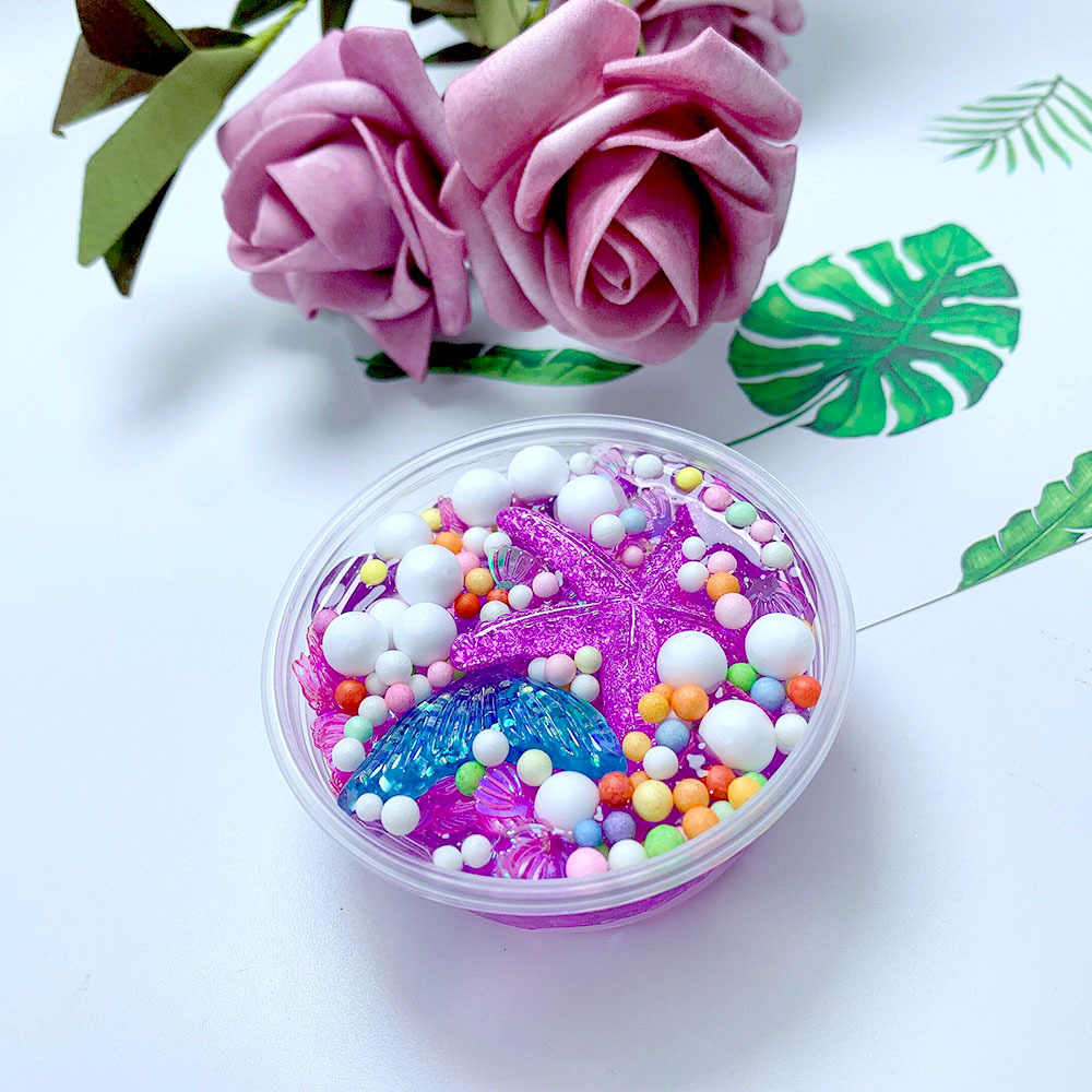 50ml Kids Charms rainbow Fluffy Mud Mermaid Tail Charms Fishbowl Mermaid Bubble Bath Slime Toy Gift Toy For Boy Girl Best Gift