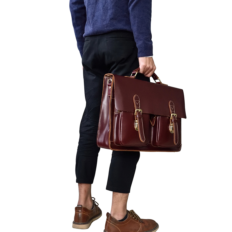 """Vintage Men's Genuine Leather briefcase 16"""" Cowhide Business bag Cow leather Laptop Double Layer messenger bag PC work tote"""