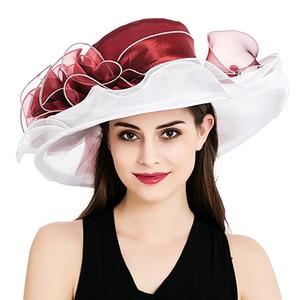 Image 4 - Women Derby Hat Luxury Ruffle Brim Floral Aside Patchwork Organza Wide Brim Hat Lady Spring Summer Sun Church Party Wedding Hat