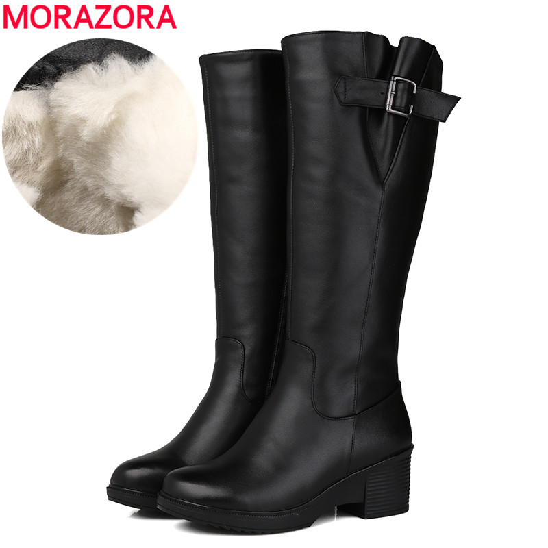 MORAZORA Size 35 43 New 2019 Genuine Leather boots platform shoes natural wool women s winter
