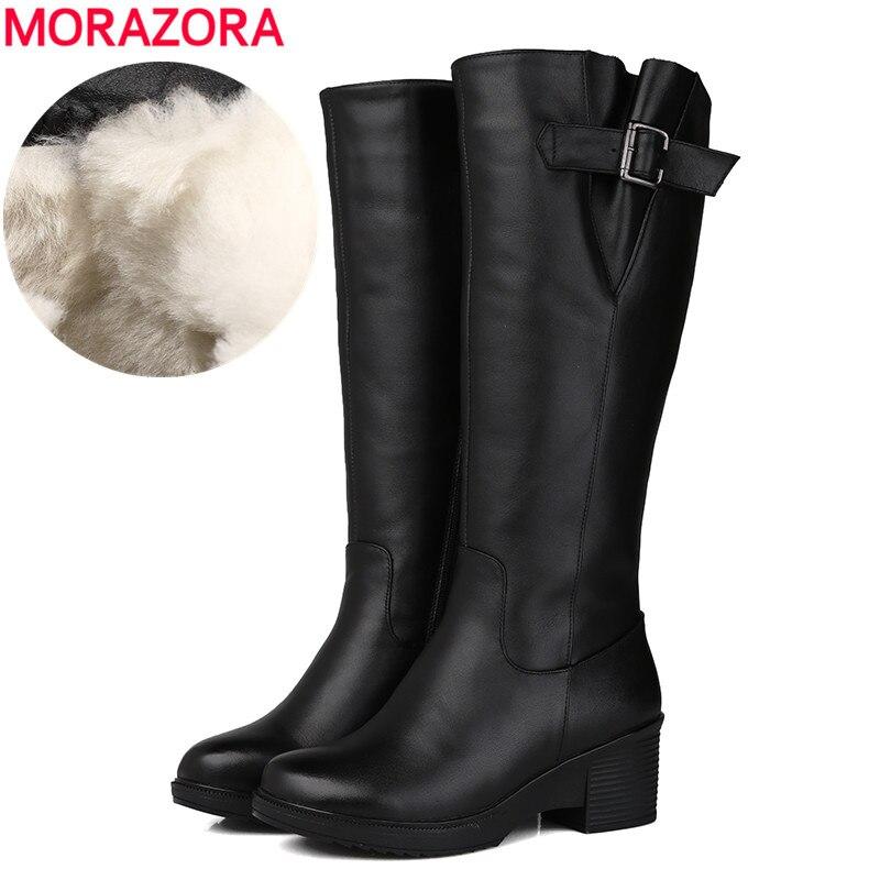 MORAZORA ขนาด 35 43 ใหม่ 2019 ของแท้หนังรองเท้าบูทแพลตฟอร์มรองเท้าขนสัตว์ธรรมชาติผู้หญิงฤดูหนาวรองเท้าบูทแฟชั่นรองเท้าบู๊ตหิมะ-ใน รองเท้าบู๊ทสูงระดับเข่า จาก รองเท้า บน   1
