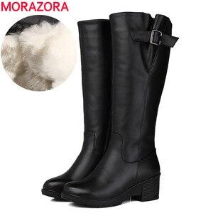 Женские сапоги из натуральной кожи MORAZORA, черные сапоги до колена на платформе, из натуральной шерсти, размер 35-43, для зимы, 2020