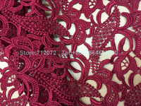 Wine red/red/sky blue/ black/ white polyester high quality hollow embsroidered wedding /evening dress fabric 47'' width by yard